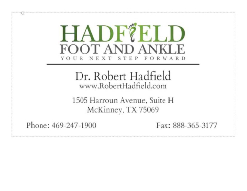 Hadfield Foot and Ankle Business Card