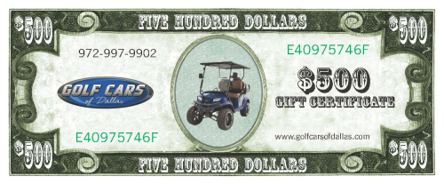 500 DallasGolf Cars Gift Certificate front